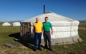 Don and Scott in Mongolia in our trip t-shirts
