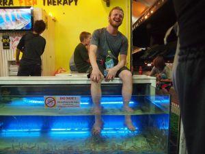 Galbraith trying a 'fish massage' in Thailand